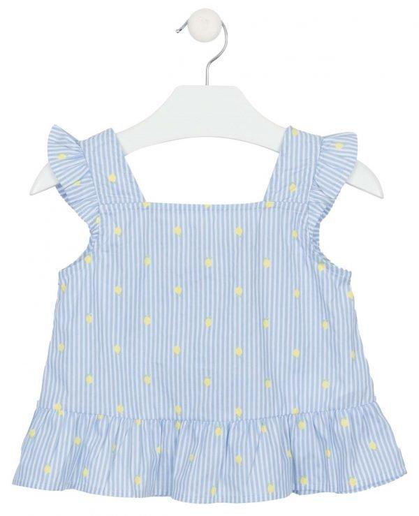 Losan blue & white striped sleeveless blouse