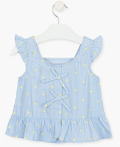 Losan blue and white sleeveless blouse
